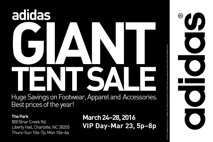 adidas giant tent sale charlotte nc