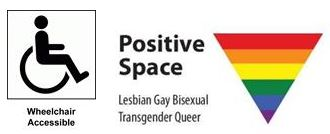 Accessibility and LGBTQ Safe Space logo