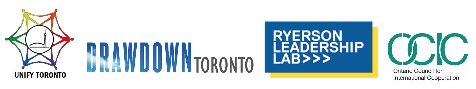 organizers logos: Unify Toronto, Drawdown Toronto, Ryerson Leadership Lab, OCIC