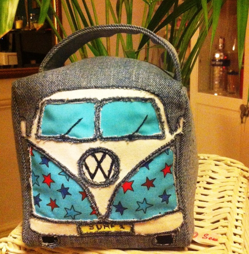 Freehand Embroidery Campervan bag