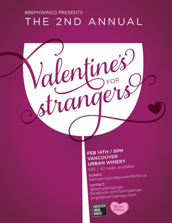 Poster for #bemyamigo Valentine's for Strangers