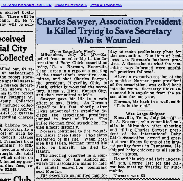 newspaper clipping regarding murder-suicide at the Milwaukee Theater