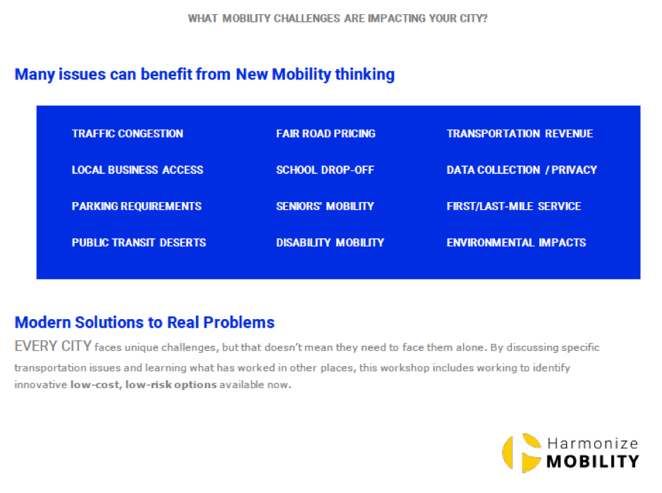 Issues that benefit from new mobility thinking