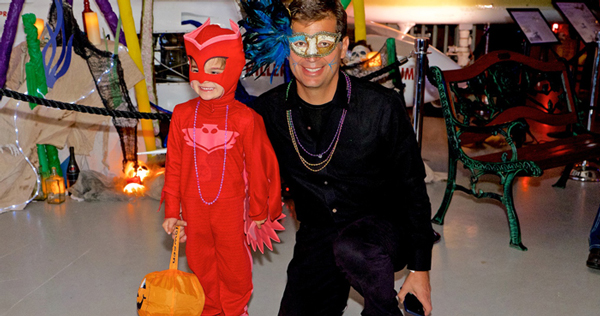 Family fun at the Haunted Hangar party