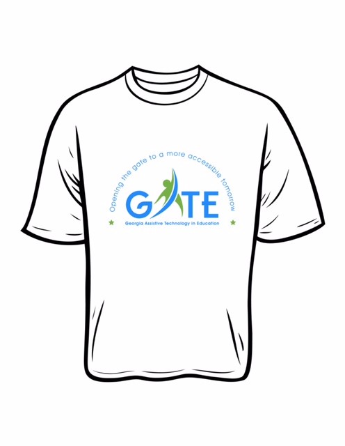White, short-sleeved T-shirt featuring the new GATE logo.  Cost is $10.00