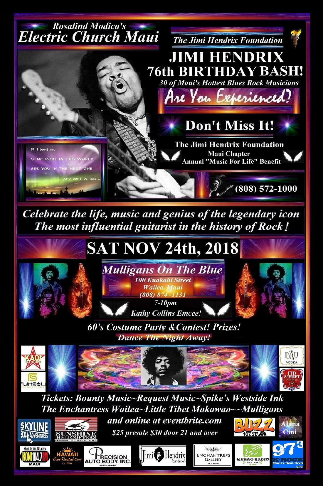 Jimi Hendrix Birthday Bash Mulligans MAUI