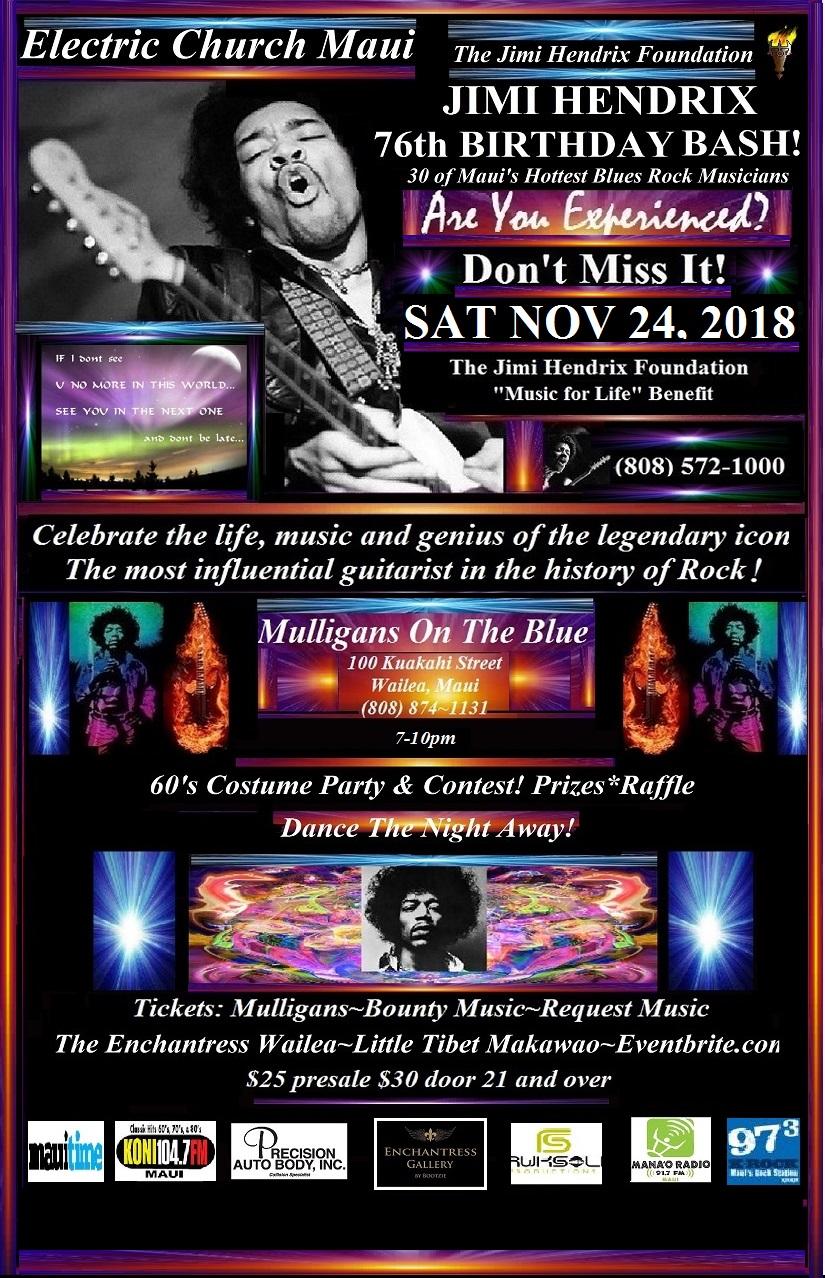 Jimi Hendrix Birthday Bash 2018 Mulligans