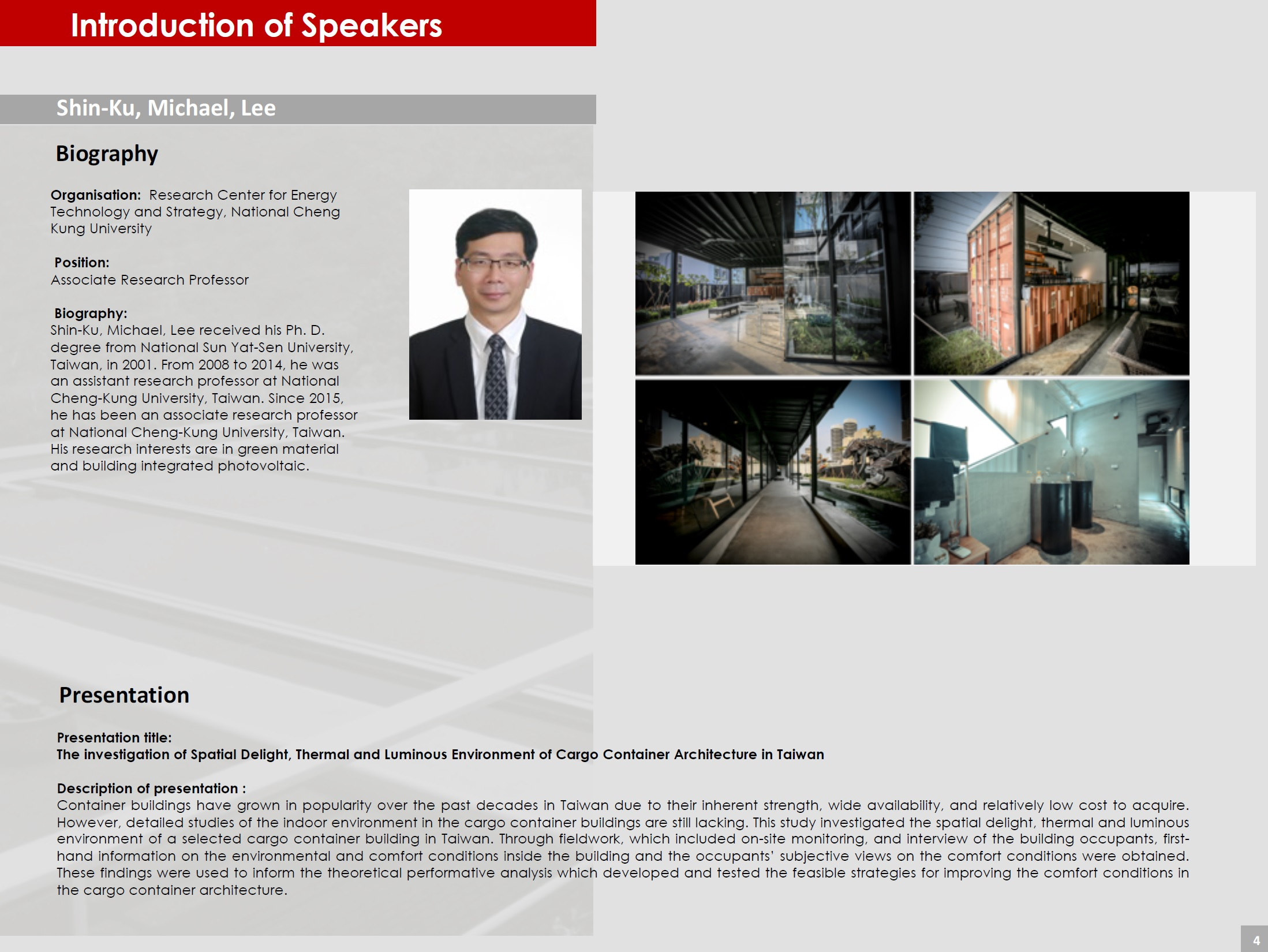 Page 4 (Introduction of Speakers)