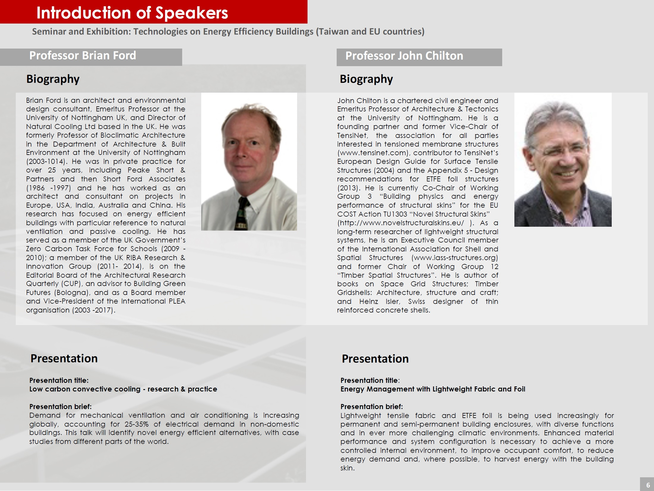 Page 6 (Introduction of Speakers)