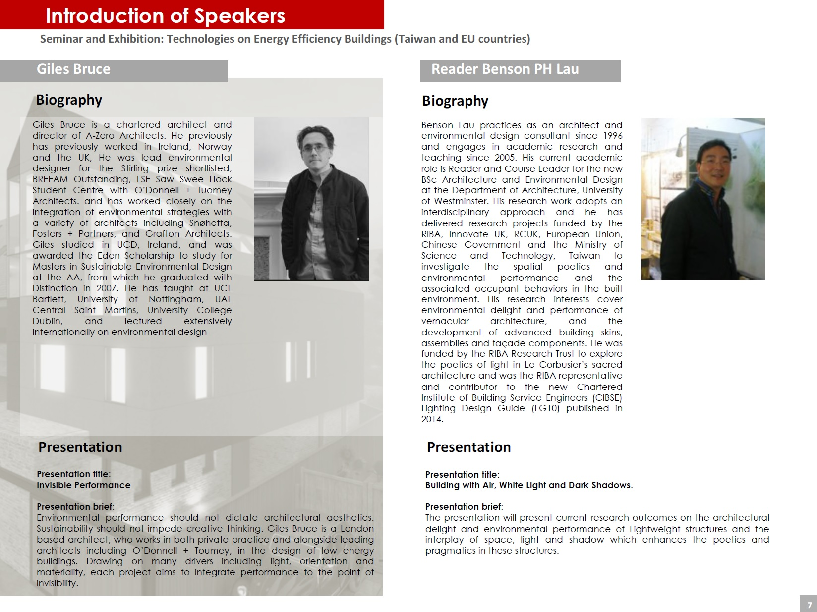 Page 7 (Introduction of Speakers)