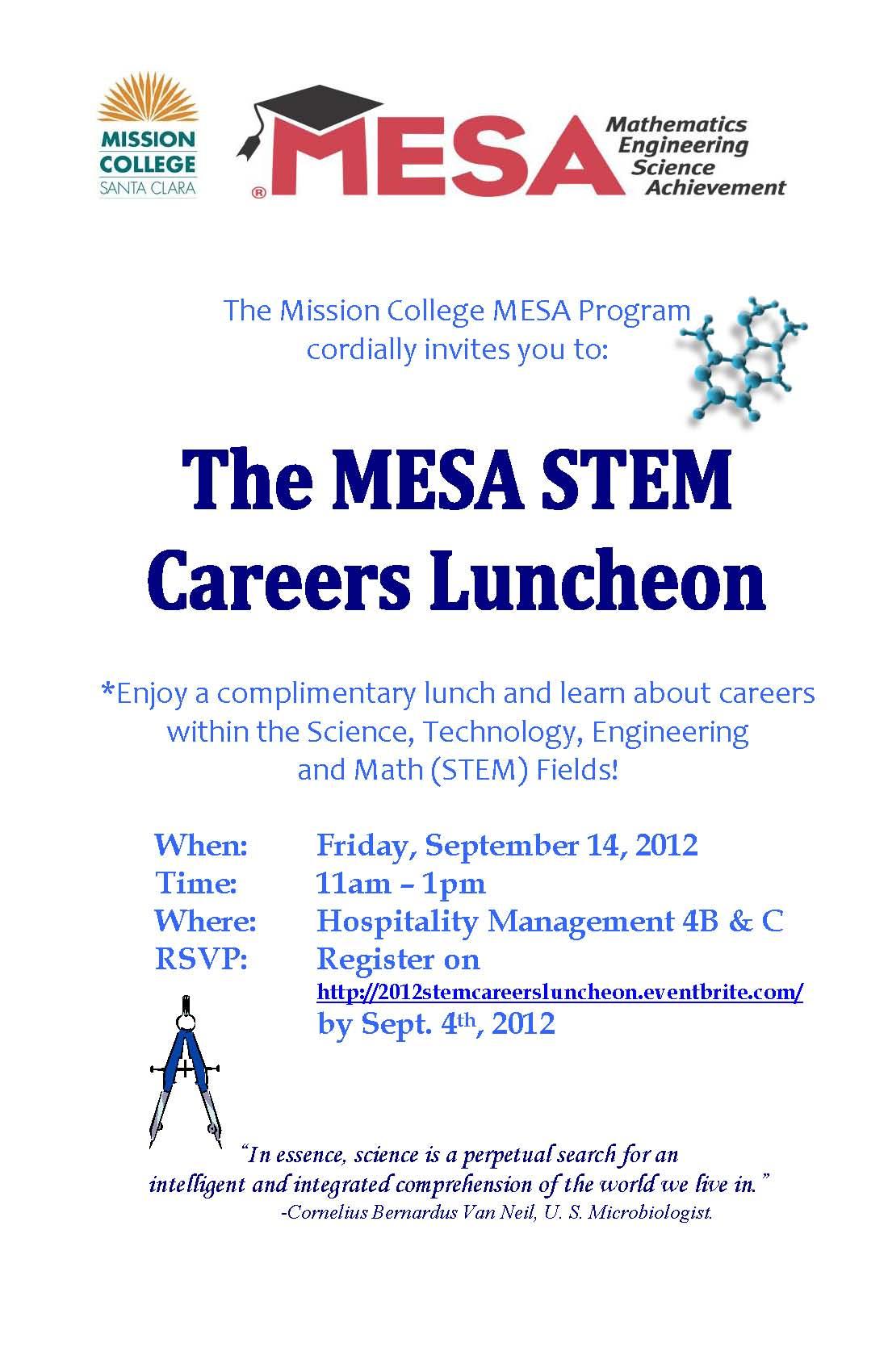 MESA 2012 STEM Careers Luncheon Flyer