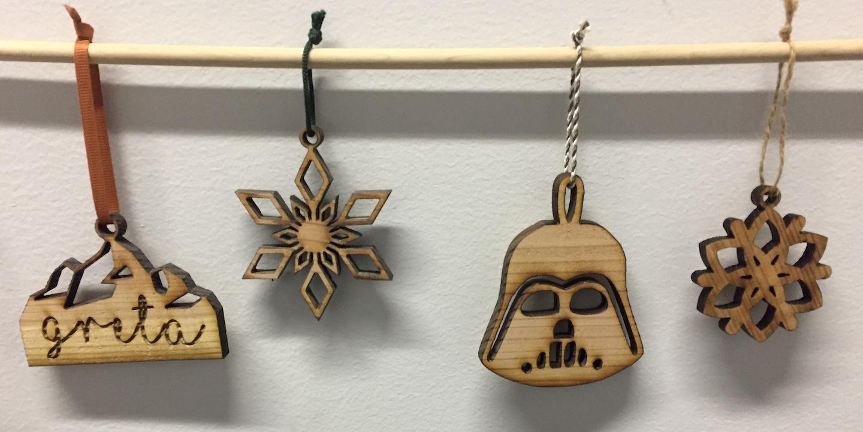 Laser-cut cedar ornaments