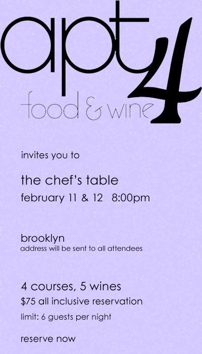 apt4 chef's table 2/11/11 & 2/12/11