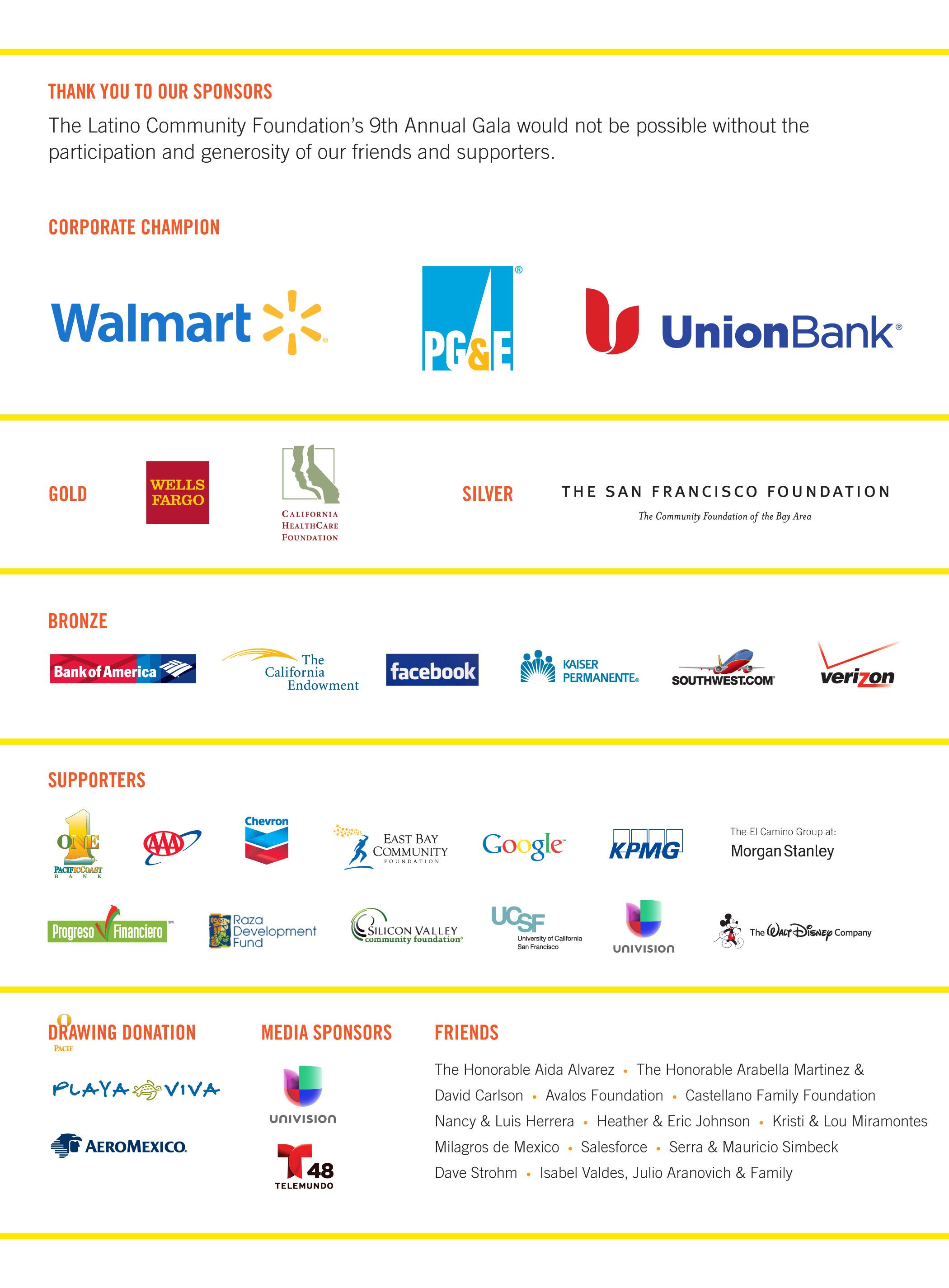 Gala 2014 Sponsors