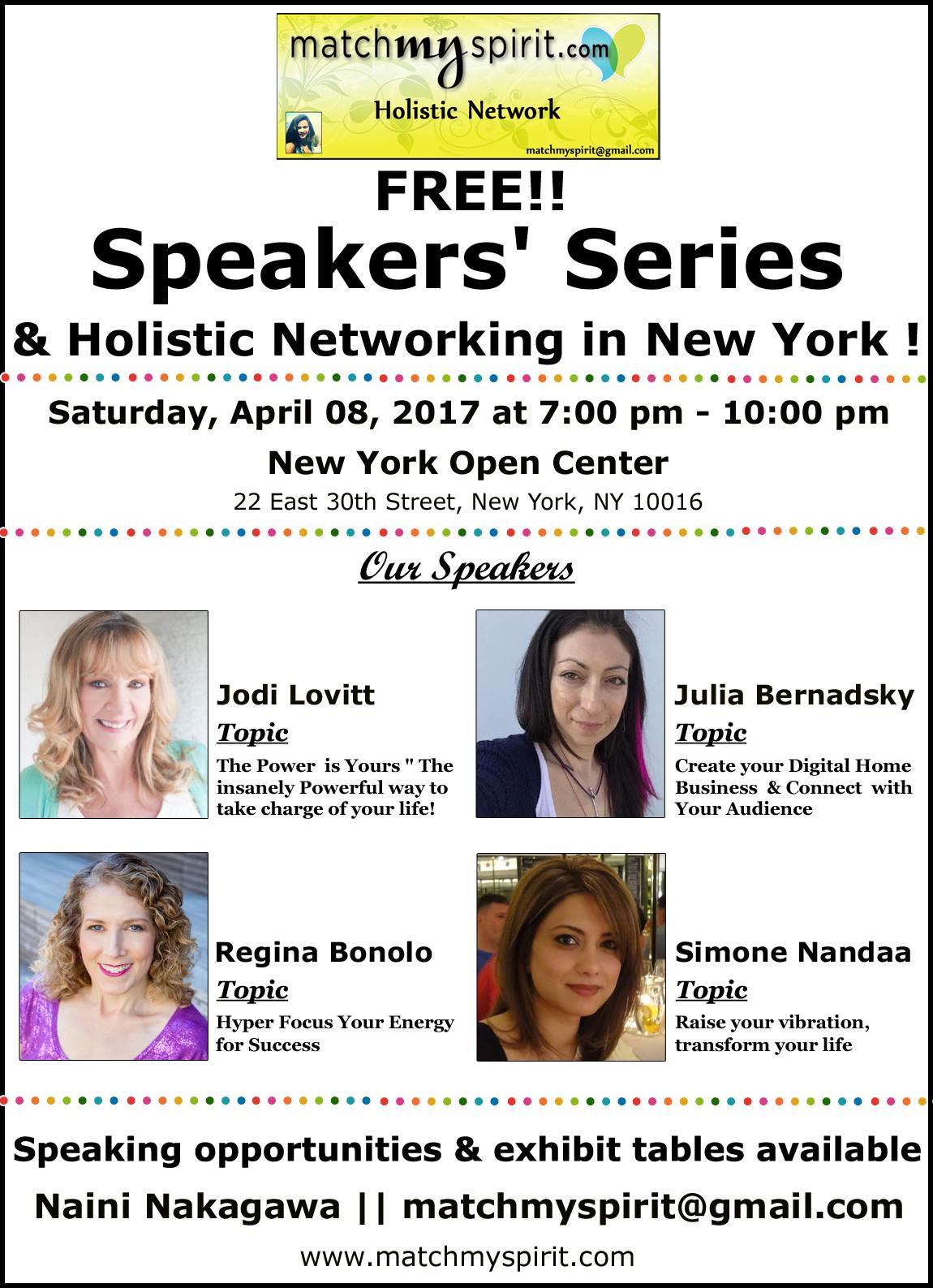 FREE!! Speakers' Series & Holistic Networking