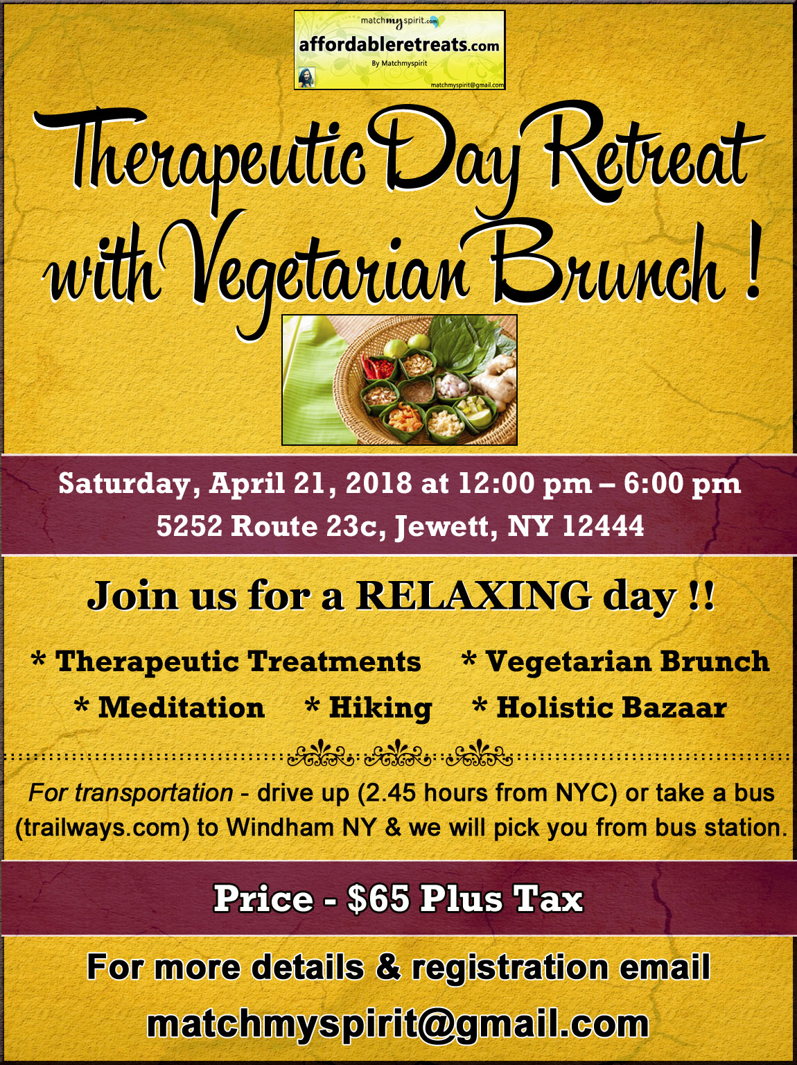 Therapeutic Day Retreat & Vegetarian Brunch
