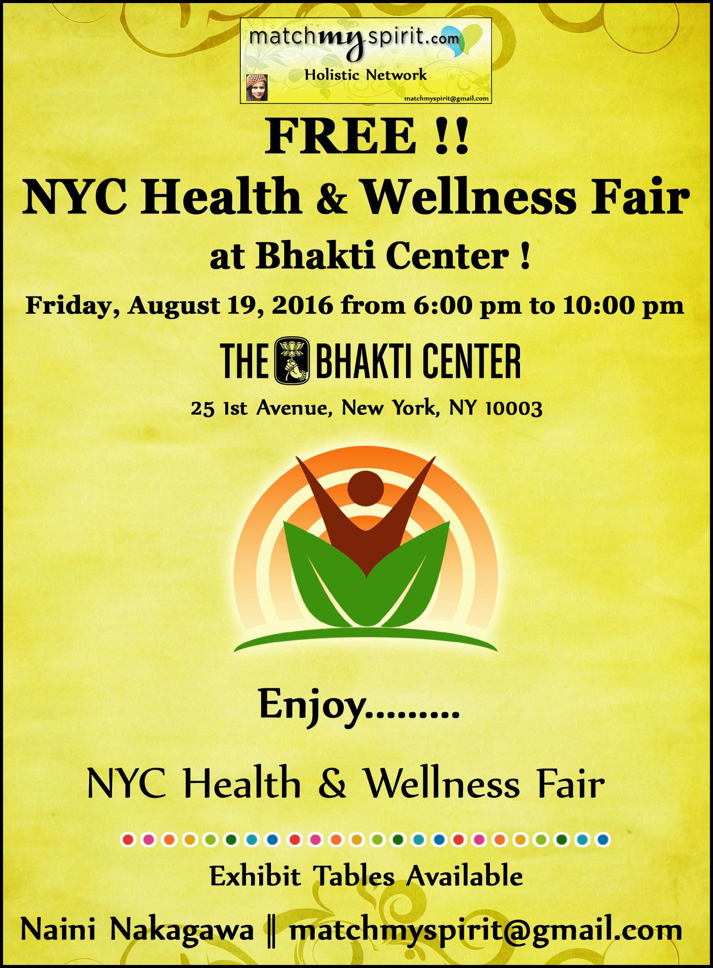 FREE!! NYC Health & Wellness Fair at Bhakti Center !