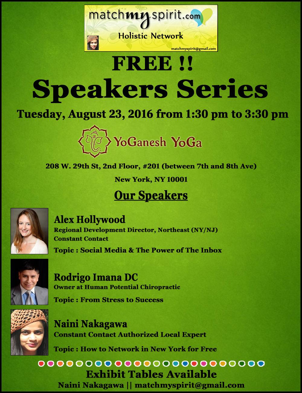 FREE!!  Speakers Series