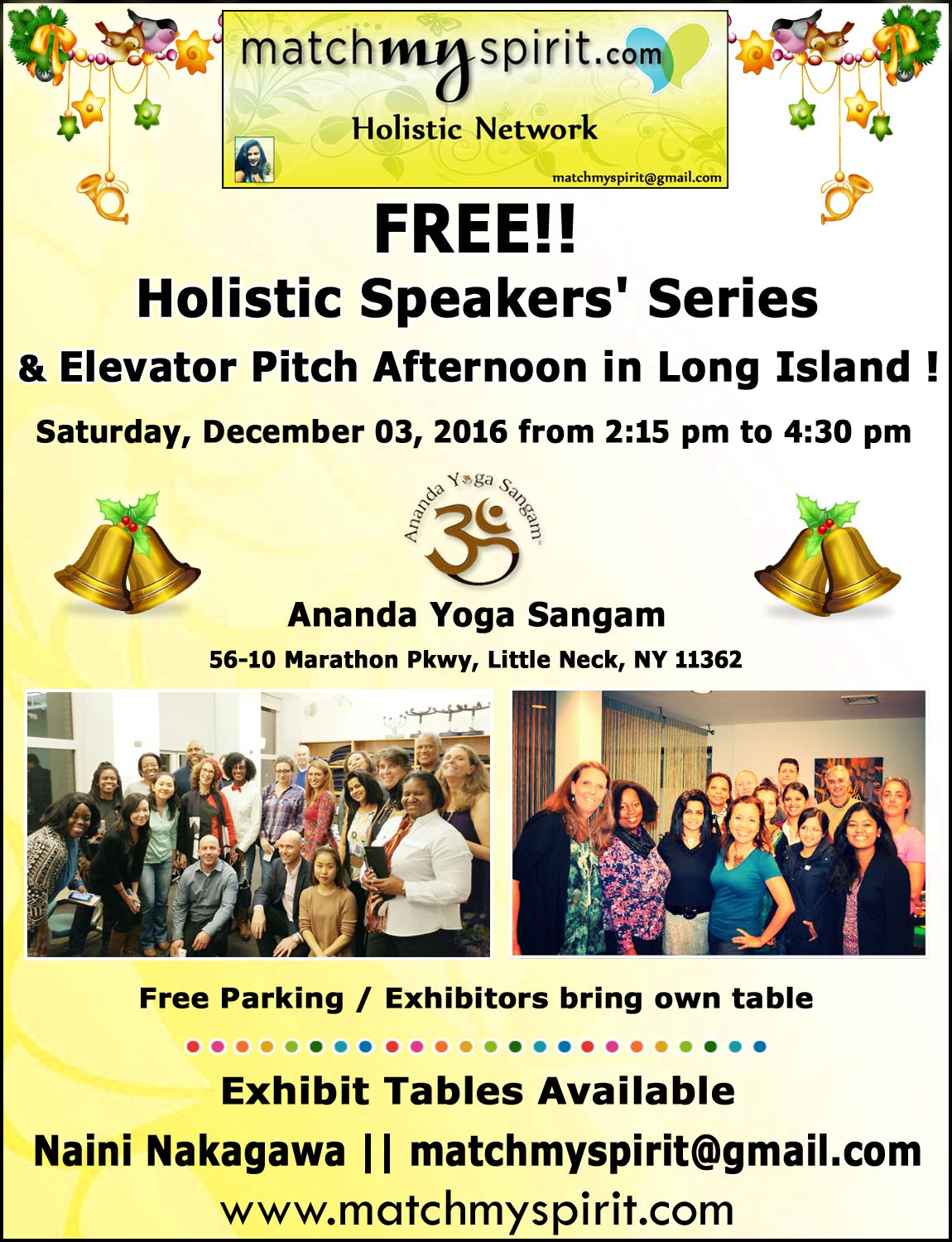 FREE!! Holistic Speakers' Series & Elevator Pitch Afternoon in Long Island !