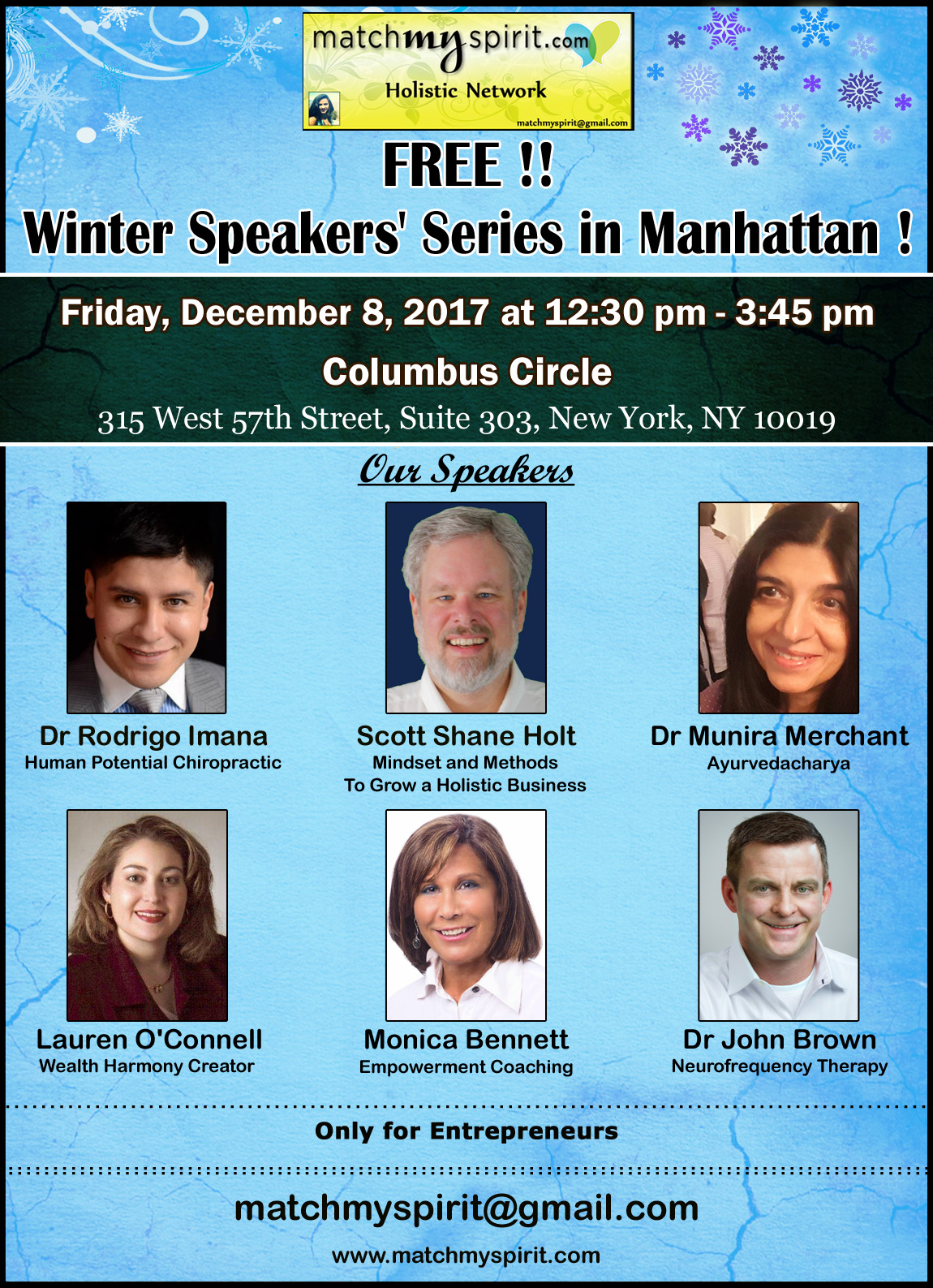 FREE!! Winter Speakers' Series in Manhattan !