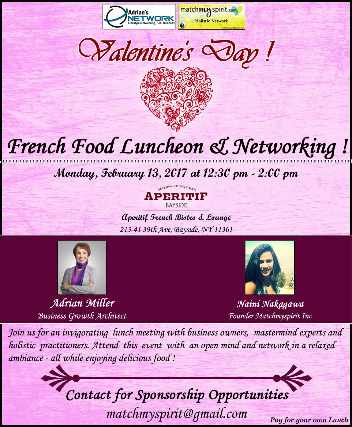 Valentine's Day French Food Luncheon & Networking !