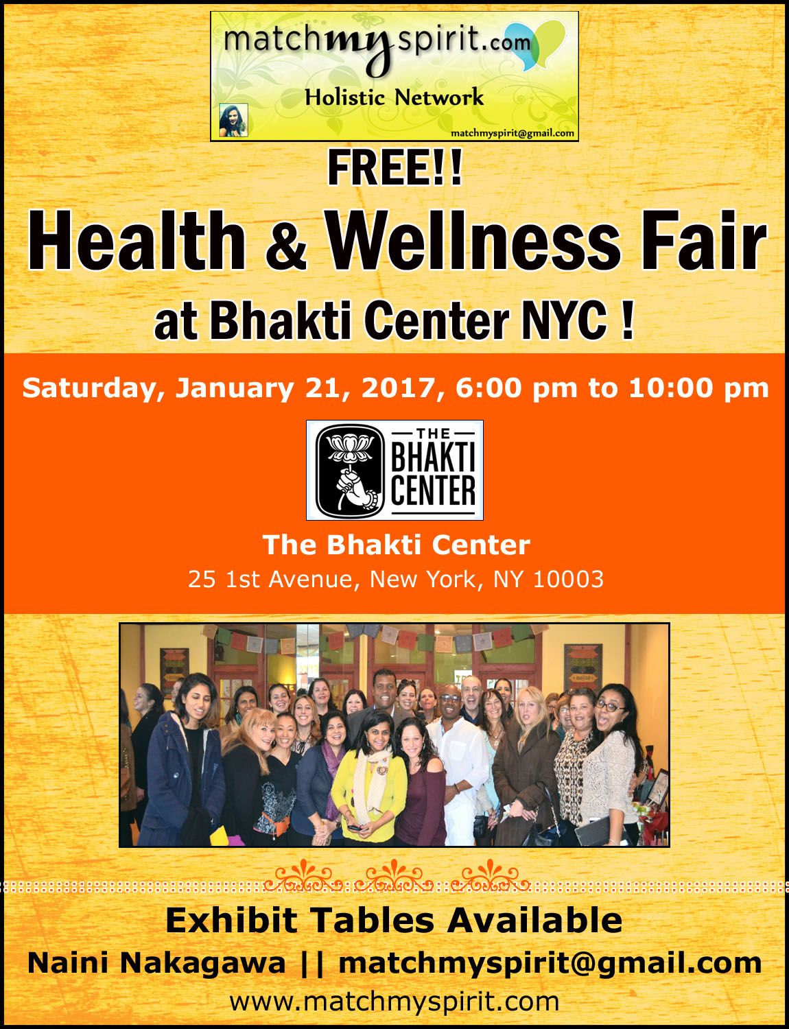 FREE!! Health & Wellness Fair at Bhakti Center NYC