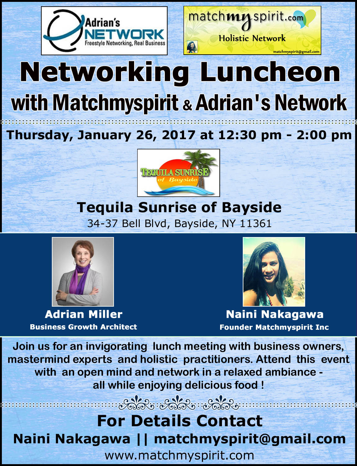 Networking Luncheon with Matchmyspirit & Adrian's Network