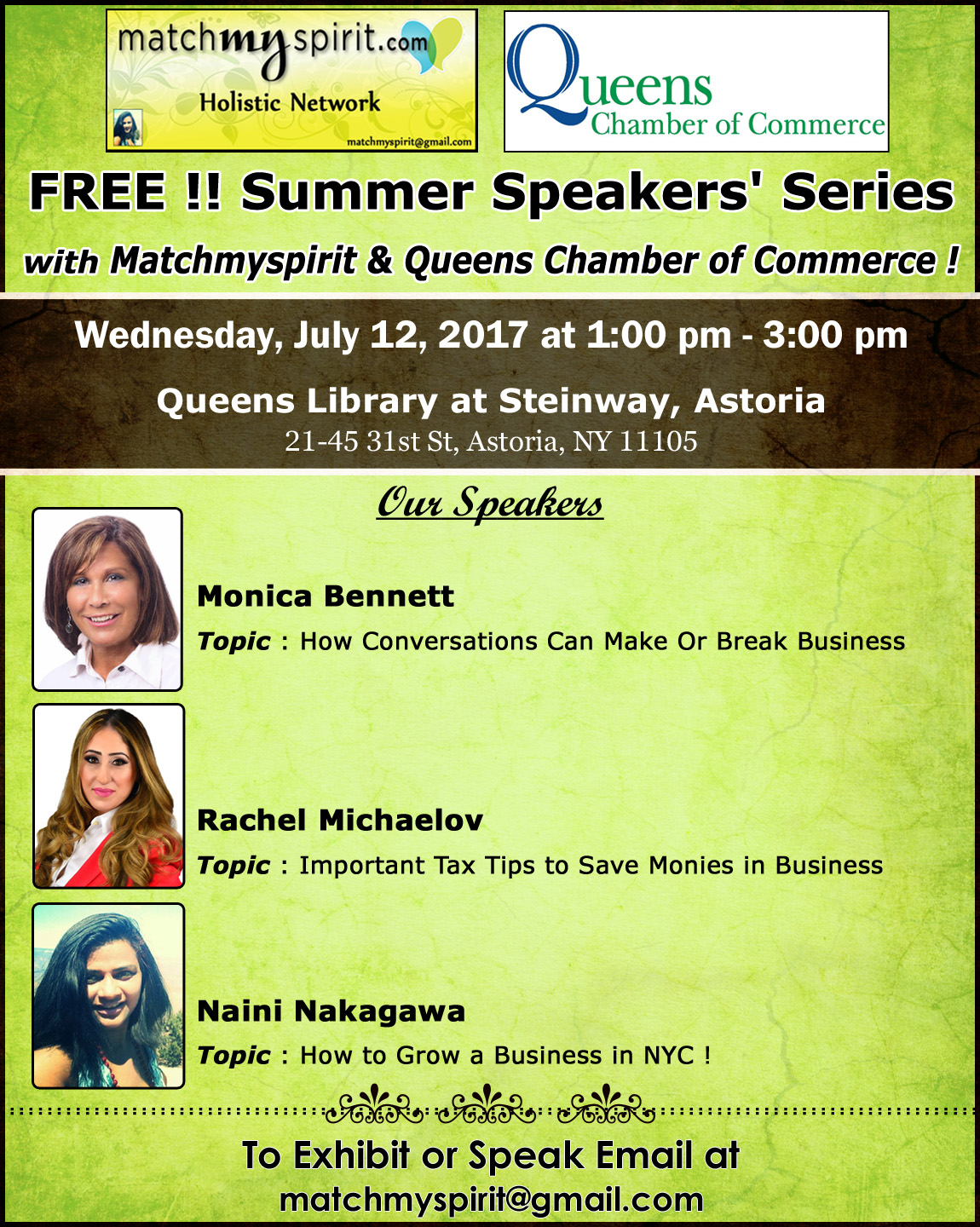 FREE!! Summer Speakers' Series with Matchmyspirit & Queens Chamber of Commerce !