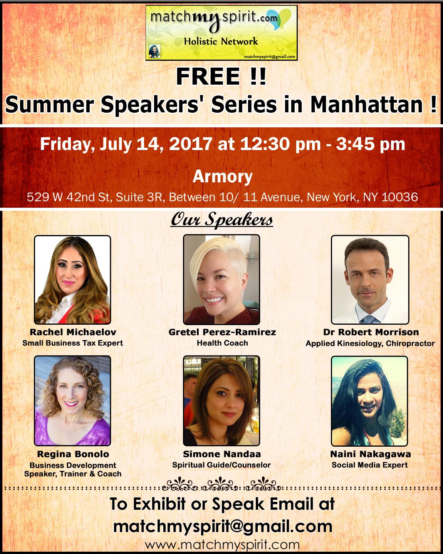 Free Summer Speaking Series in Manhattan