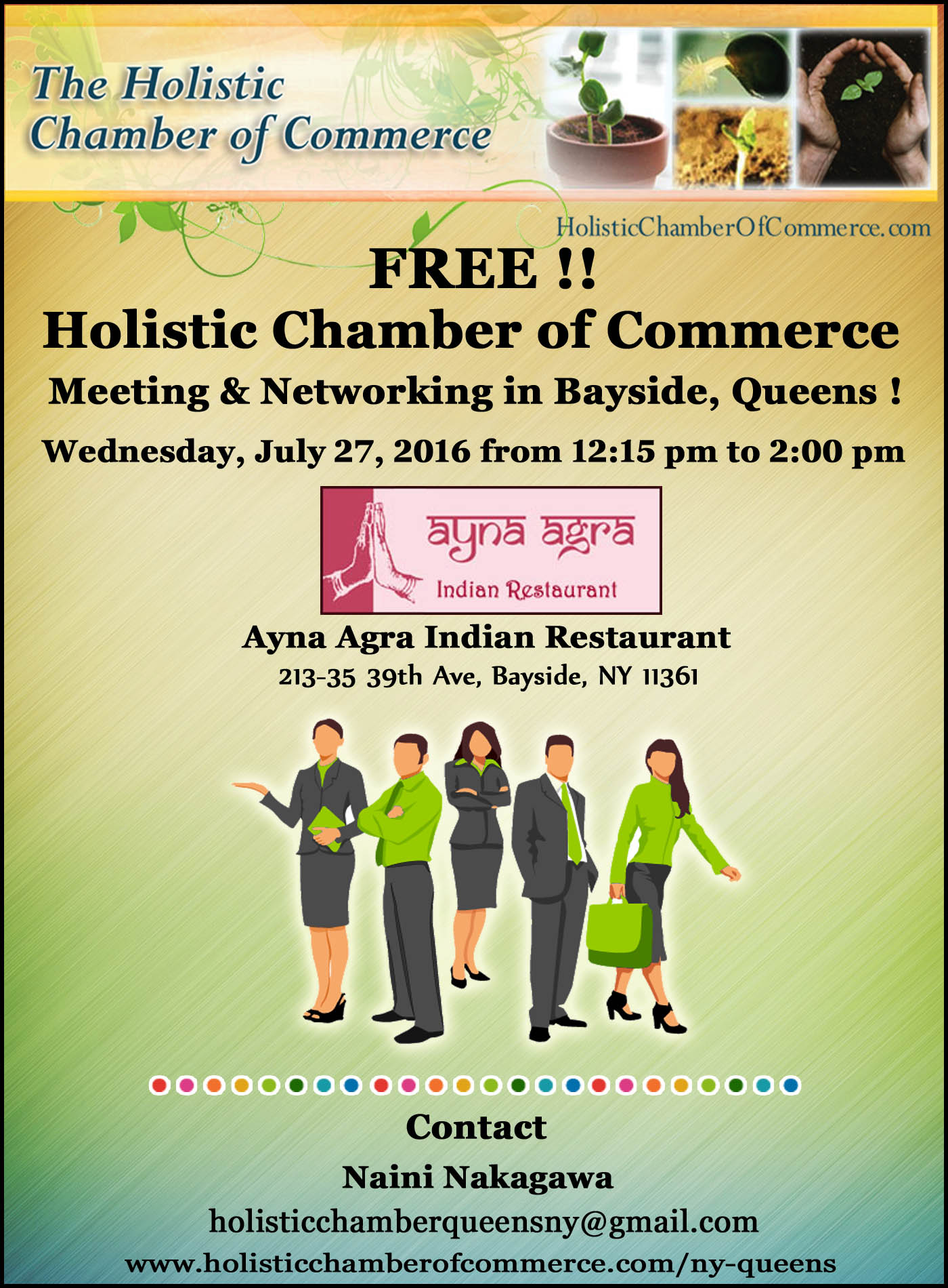 FREE!! Holistic Chamber of Commerce Meeting & Networking in Bayside!