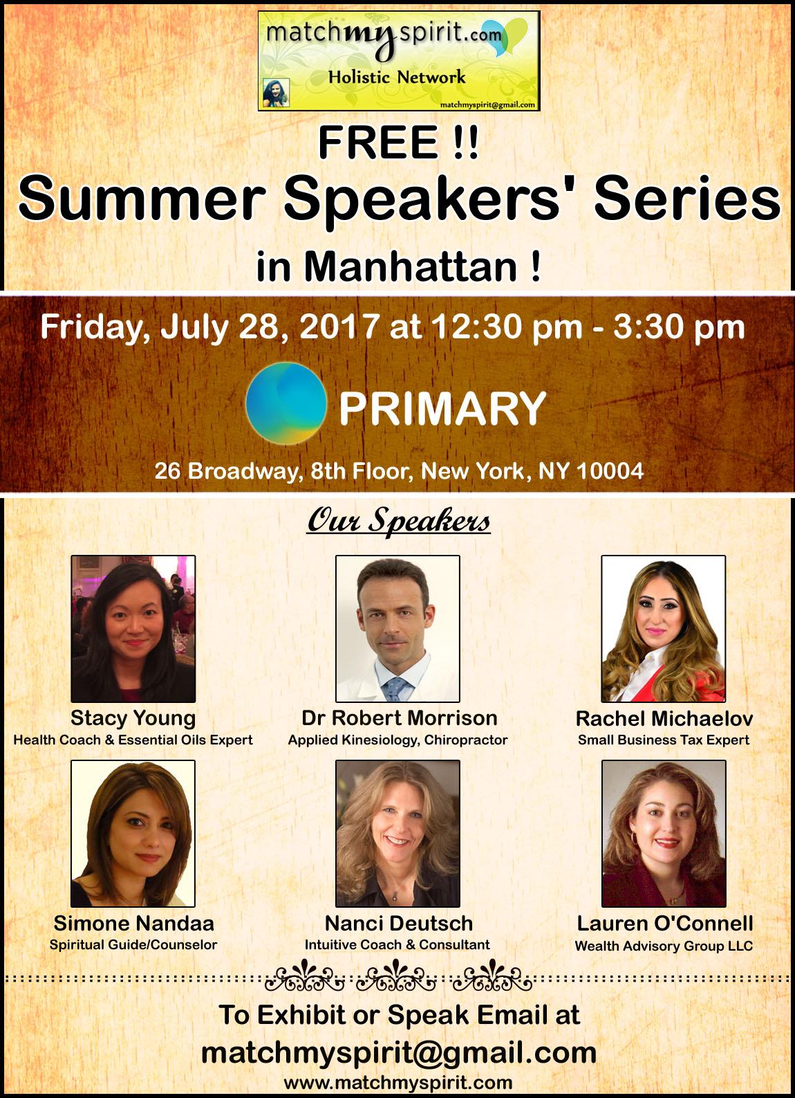 FREE!! Summer Speakers' Series in Manhattan !