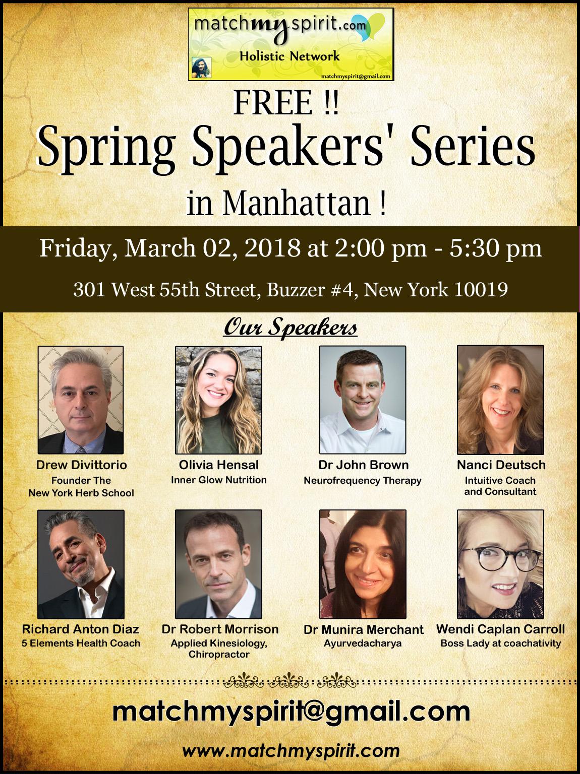 FREE!! Spring Speakers' Series in Manhattan