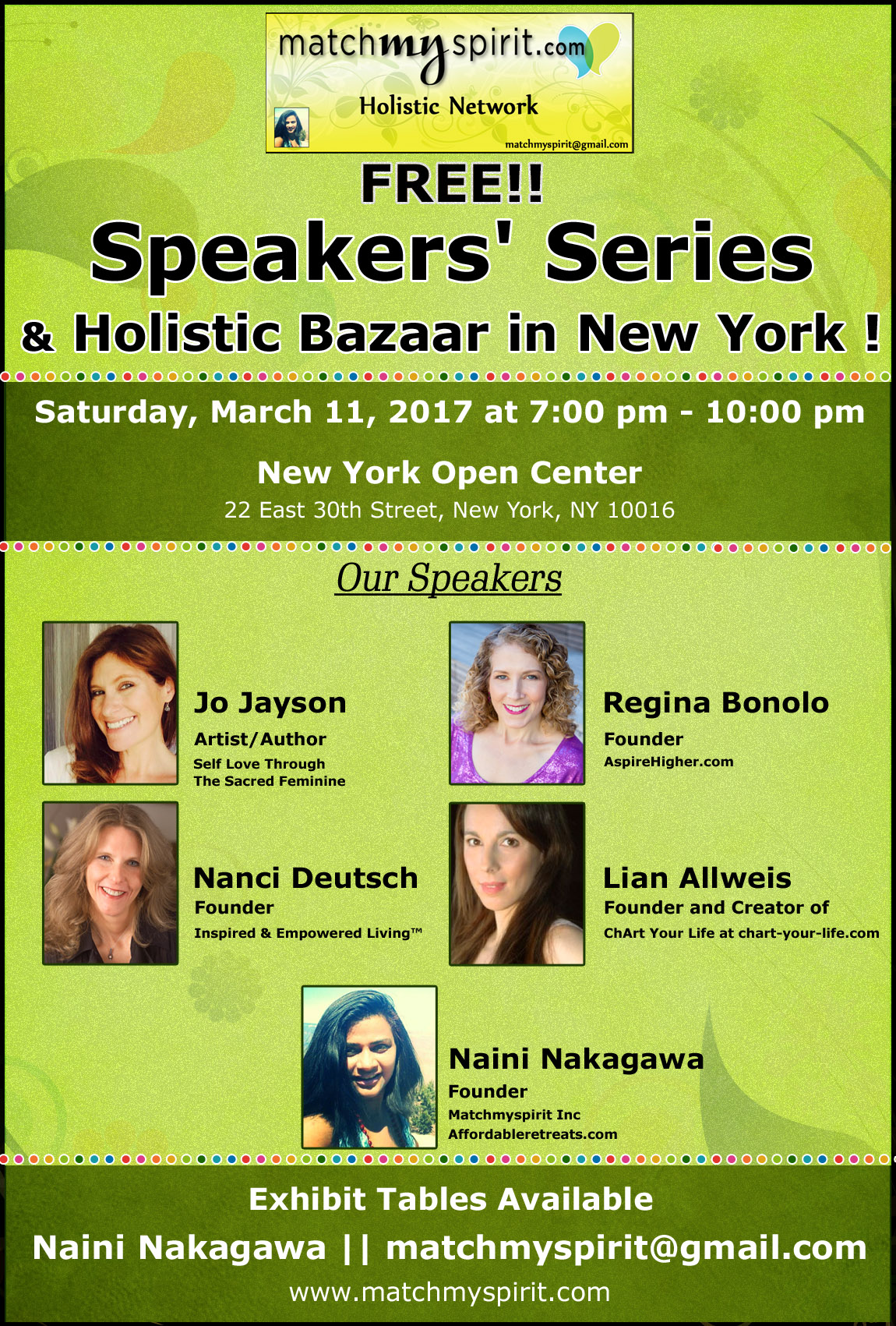 FREE!! Speakers Series  & Holistic Bazaar in New York
