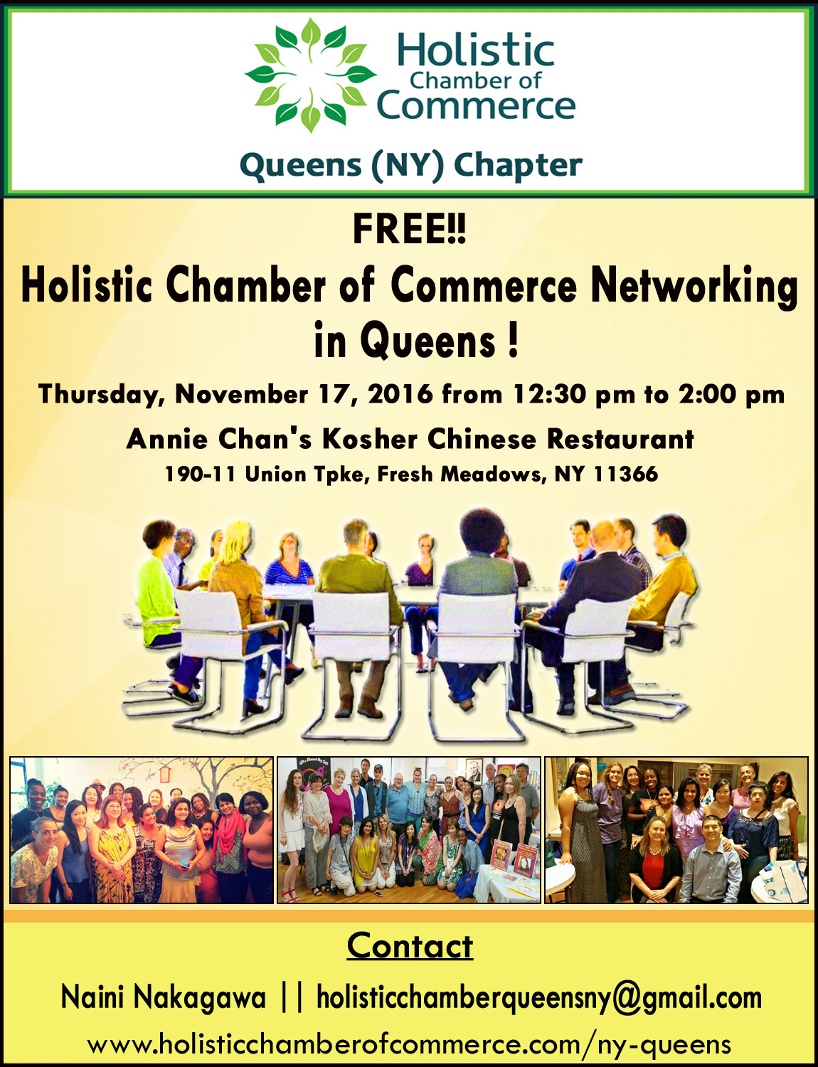 FREE!! Holistic Chamber of Commerce Networking in Queens!