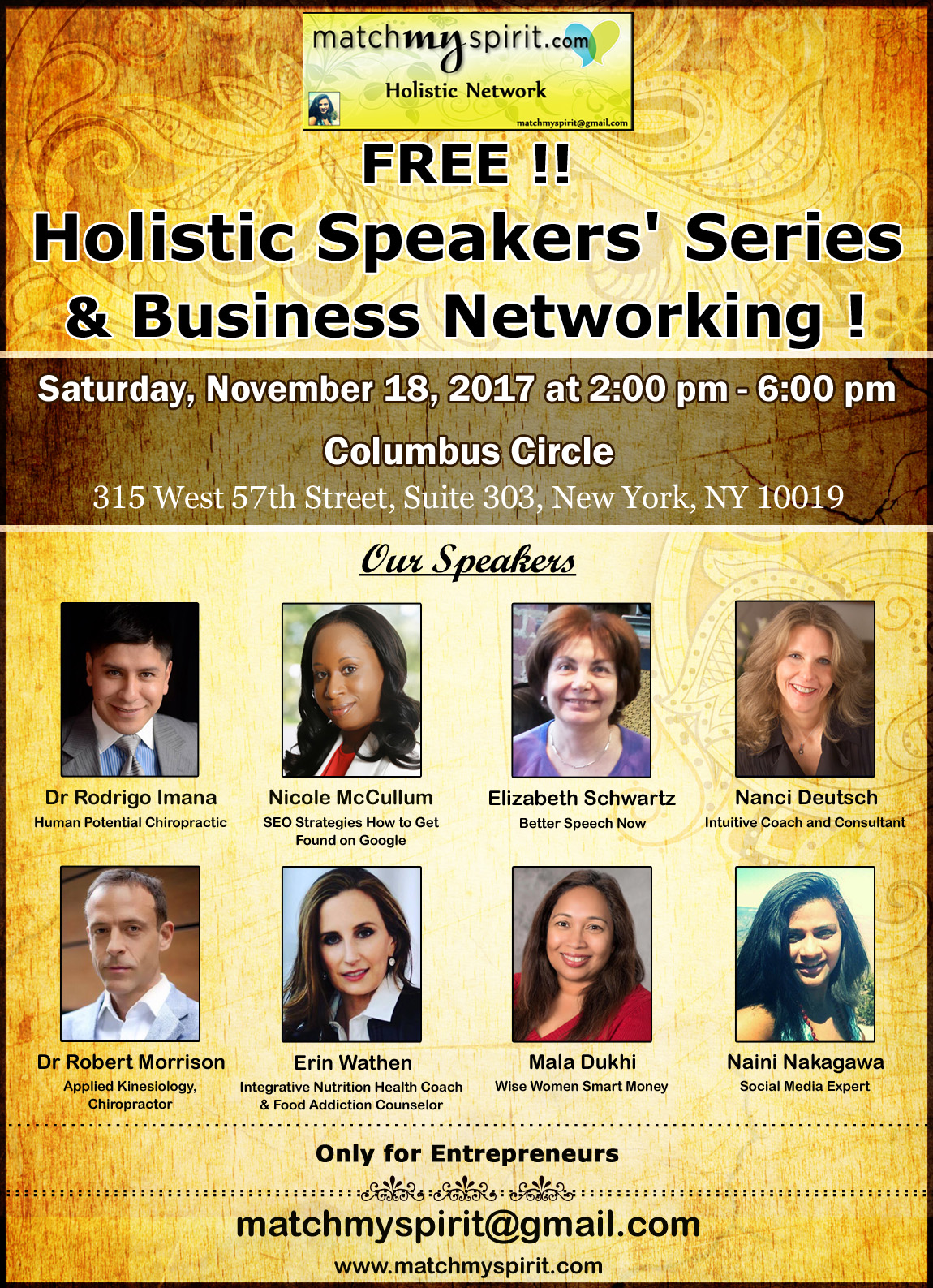FREE !! Holistic Speakers' Series & Business Networking !