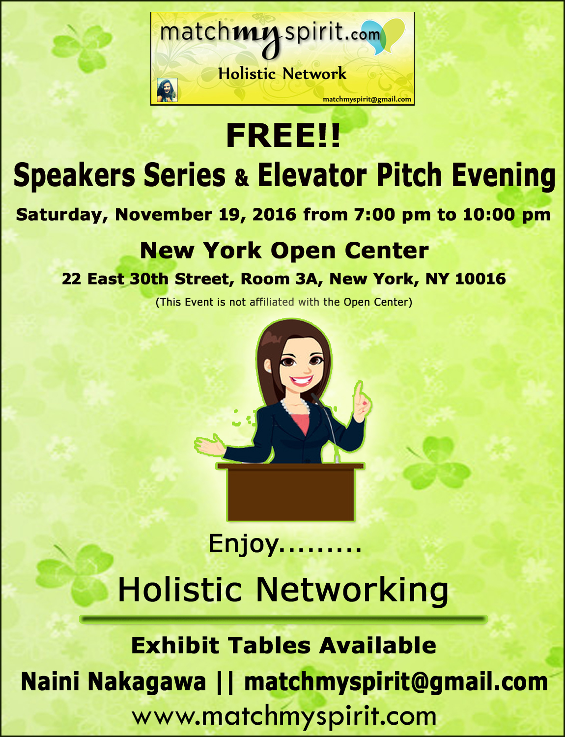 FREE!! Speakers Series & Elevator Pitch Evening