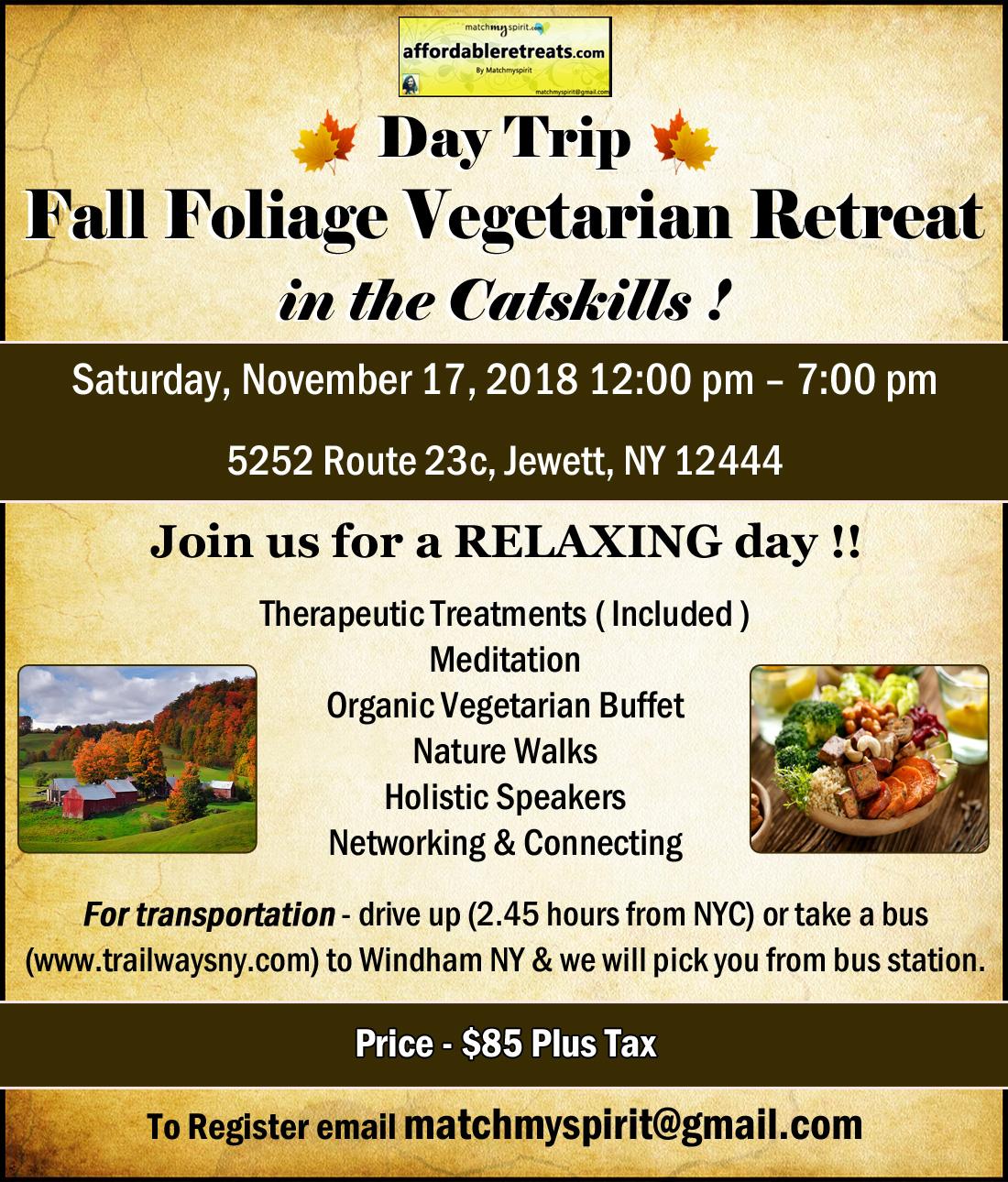 Fall Foliage Vegetarian Retreat in the Catskills