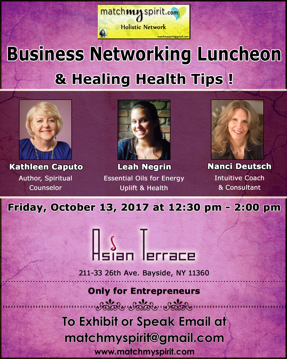 Business Networking Luncheon & Healing Health Tips !