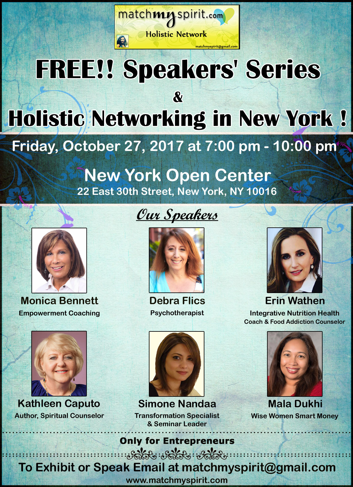 FREE!! Speakers' Series  &  Holistic Networking in New York !