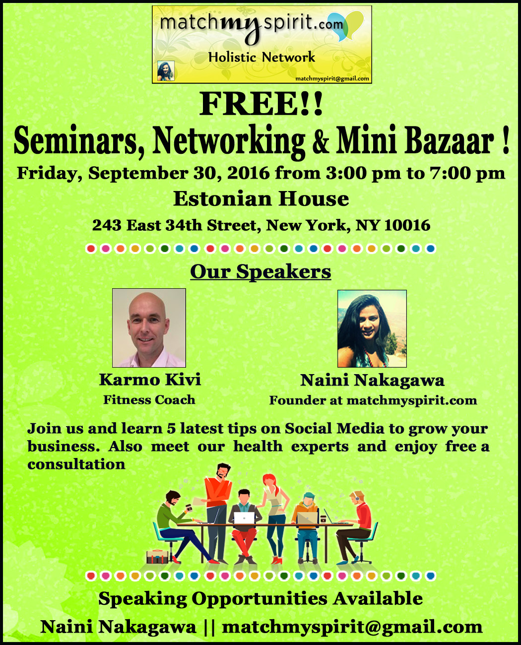 FREE!! Seminars, Networking & Mini Bazaar !