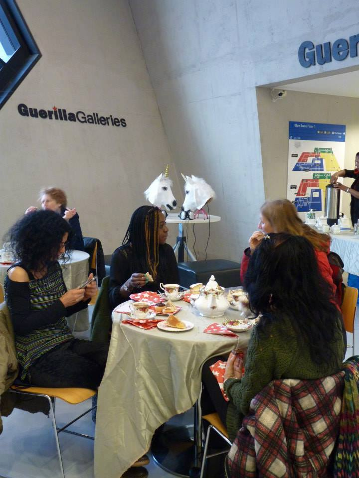 Guests enjoy afternoon at Guerilla Galleries in January 2014