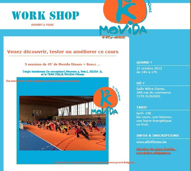 work shop Movida fitness belgium