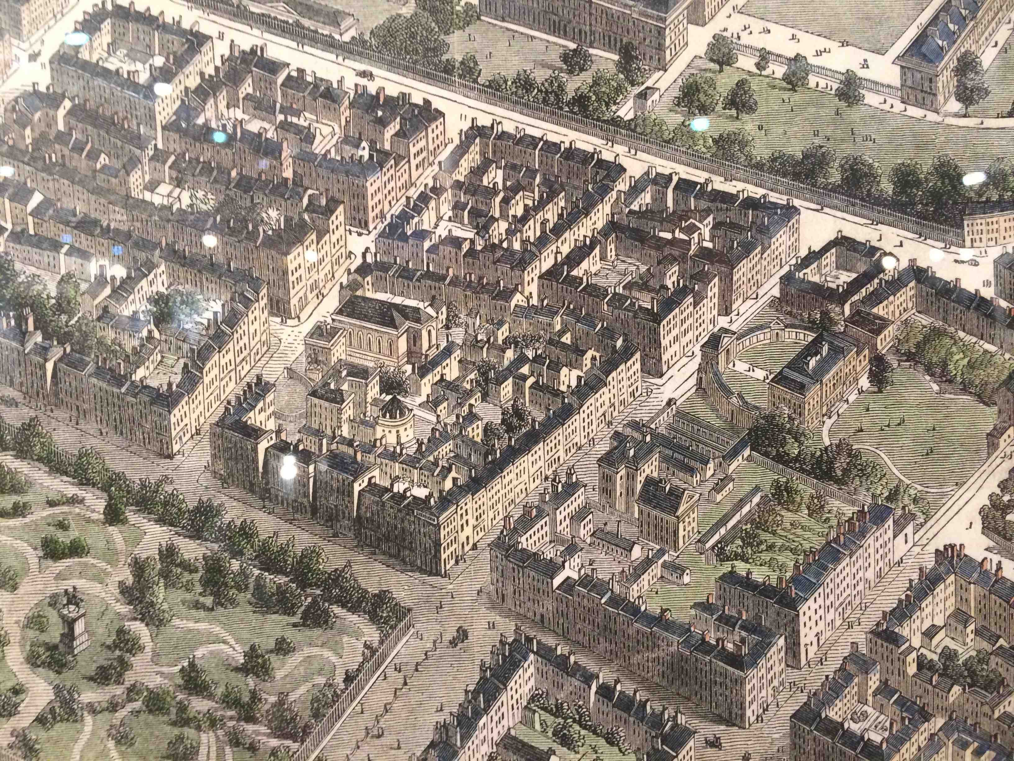 Dawson and Kildare Streets detail from 1846 Birdseye view of Dublin,