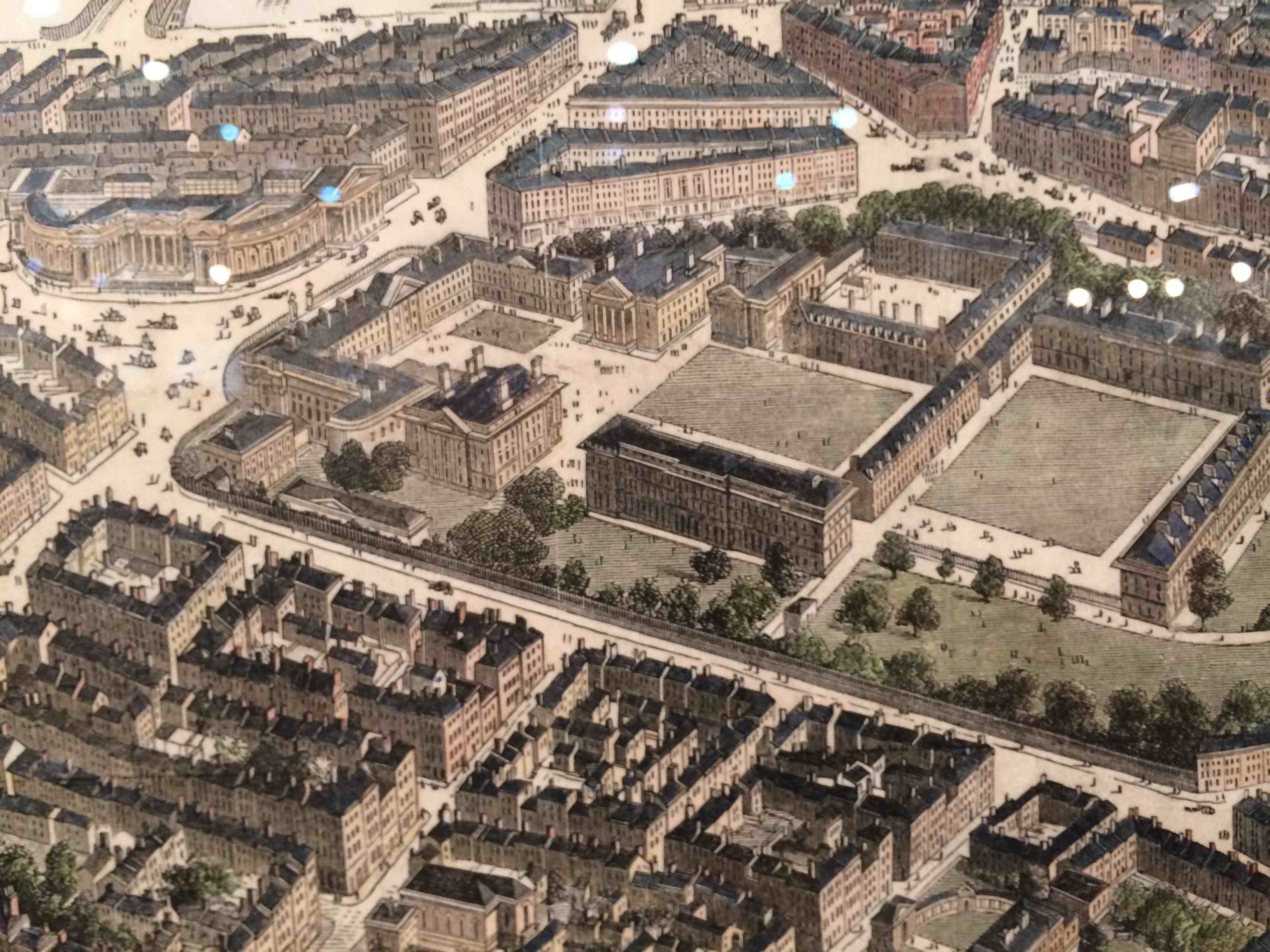 Image: detail from Bird's Eye View of Dublin from the London Illustrated News c1848