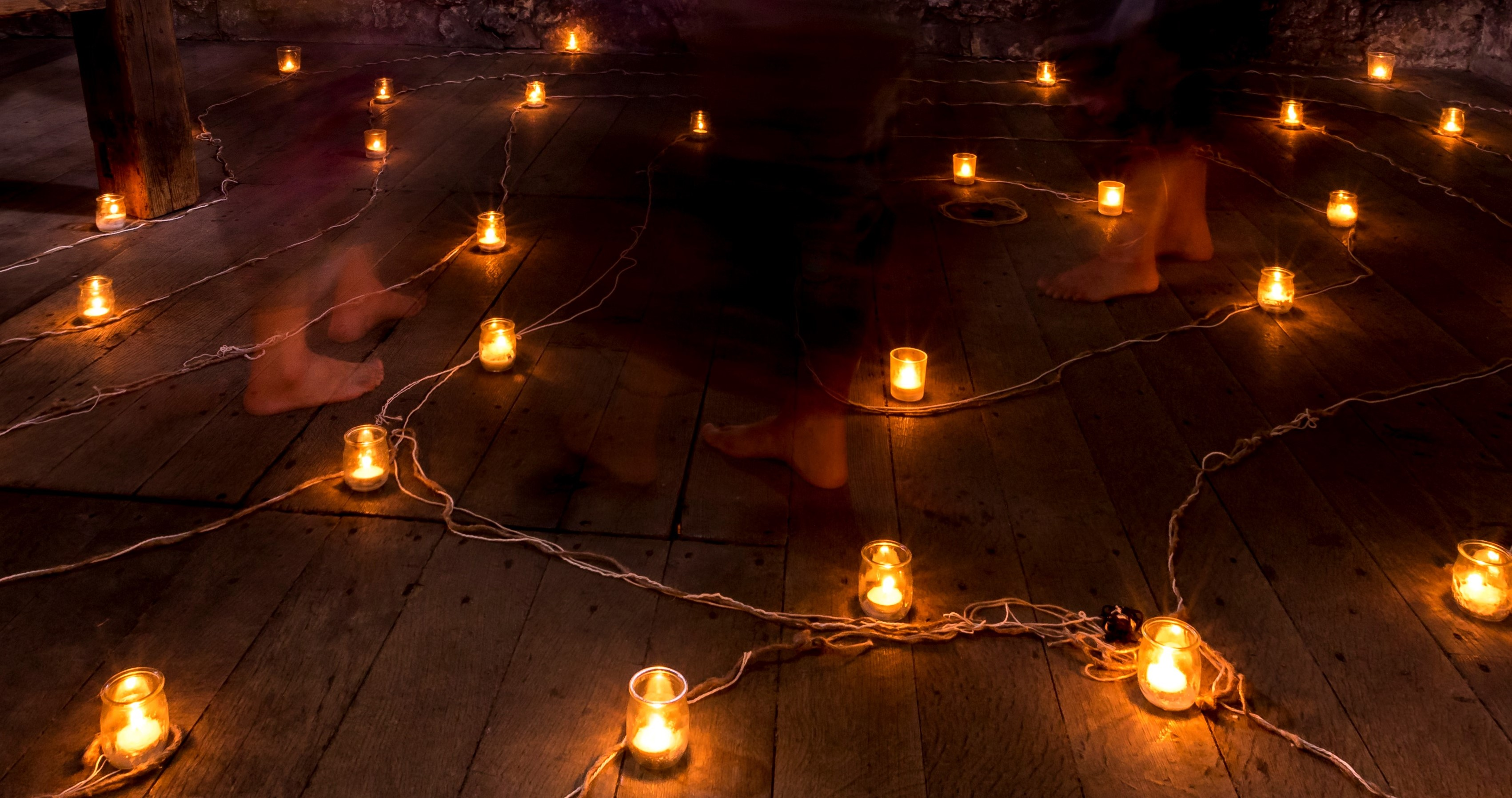Walking a candle lit labyrinth at St. Augustine's tower
