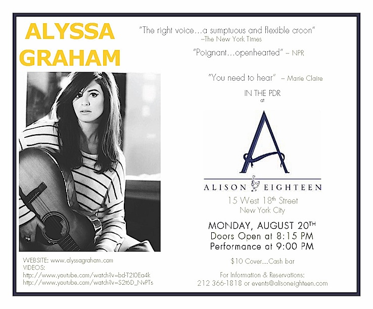 INVITE TO ALYSSA GRAHAM PLAYING AT ALISON EIGHTEEN 8/20