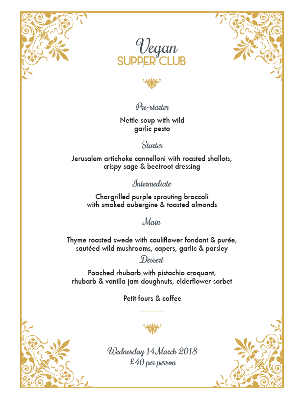 Supper Club Menu