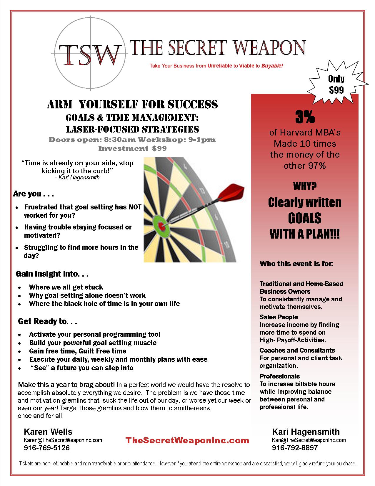 Goal Setting and Time Management, The Secret Weapon, Kari Hagensmith, Karen Wells