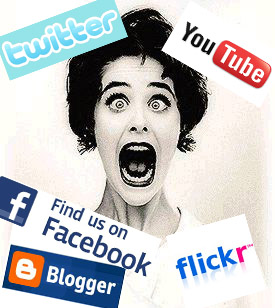 terrified woman with social media logos