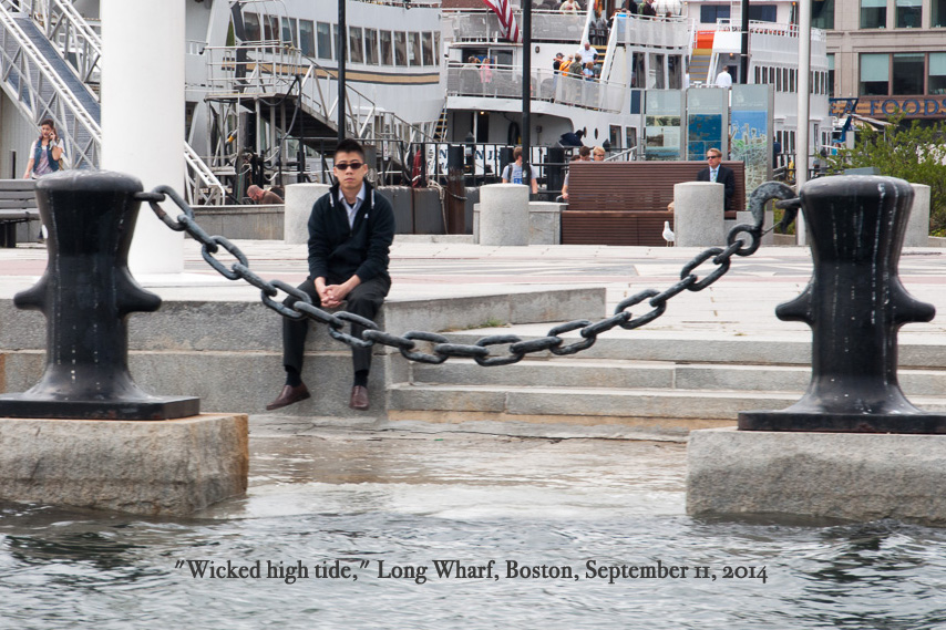 wicked high tide on Boston's Long Wharf